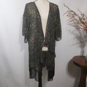LuLaRoe Monroe Kimono Black Green Fringe Sheer
